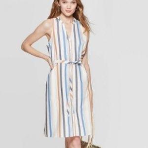 Women's Striped Sleeveless Collared Shirtdress